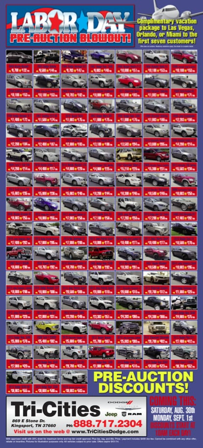 Used Cars Tri Cities >> Labor Day Pre-Auction Blowout Sale - Tri-Cities TN Dealer ...