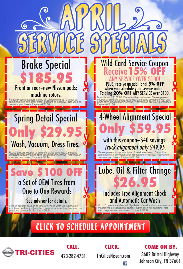 nissan service specials nissan service coupon offers in johnson city tn. Black Bedroom Furniture Sets. Home Design Ideas