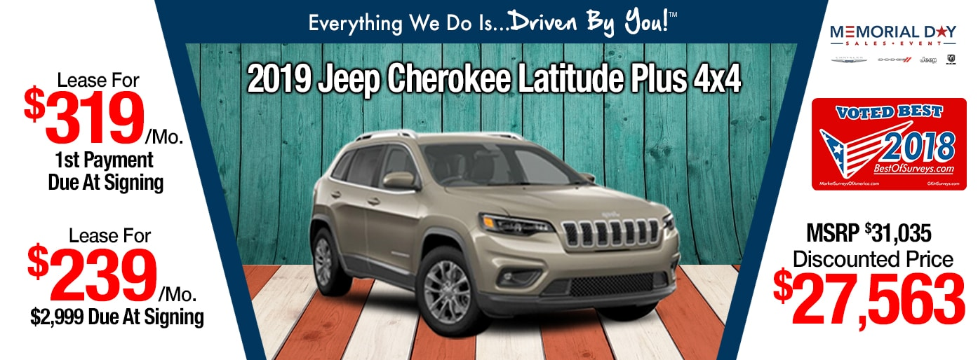 2019 Jeep Cherokee Latitude Plus Lease Special at Tri-City