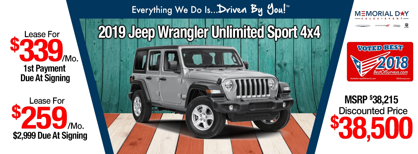 2018 Jeep Wrangler JL Sport Lease Special at Tri-City