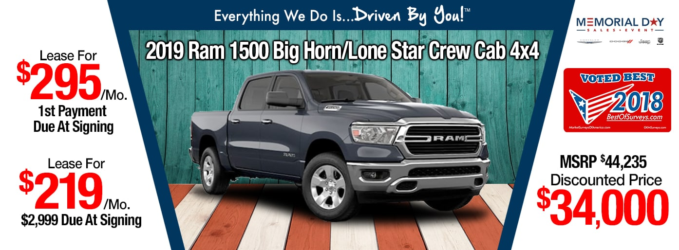 2019 Ram 1500 CC Lease Special at Tri-City