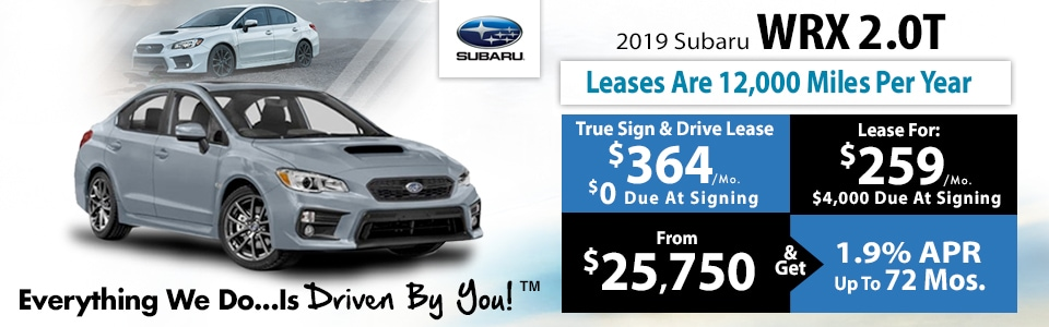 2019 Subaru WRX 2.0T Lease Special at Tri-City Subaru