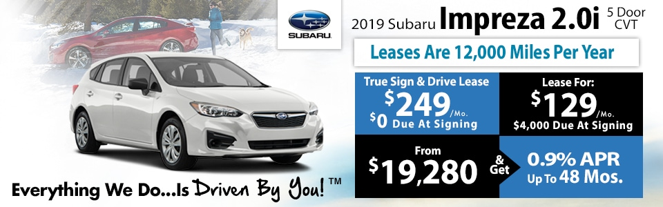 2019 Subaru Impreza 2.0i CVT Lease Special at Tri-City Subaru