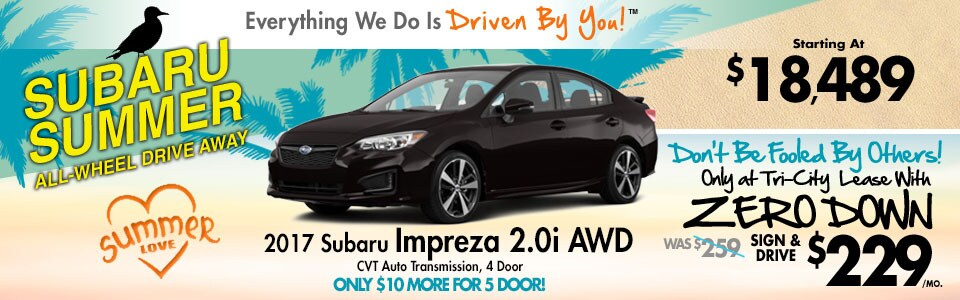 2017 Subaru Impreza 2.0i AWD Lease Special at Tri-City Subaru