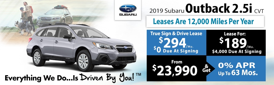 2019 Subaru Outback 2.5i CVT Lease Special at Tri-City Subaru