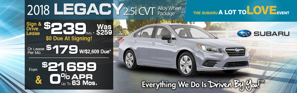 2018 Subaru Legacy 2.5i CVT Lease Special at Tri-City Subaru