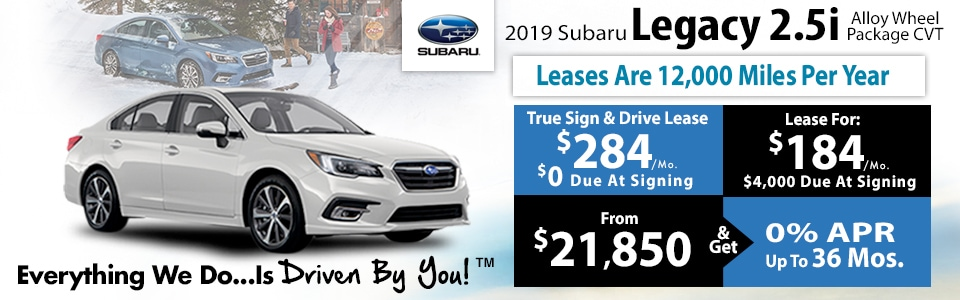 2019 Subaru Legacy 2.5i CVT Lease Special at Tri-City Subaru
