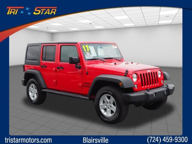Featured pre-owned cars, trucks, and SUVs 2017 Jeep Wrangler JK Unlimited Sport 4x4 SUV for sale near you in Blairsville, PA