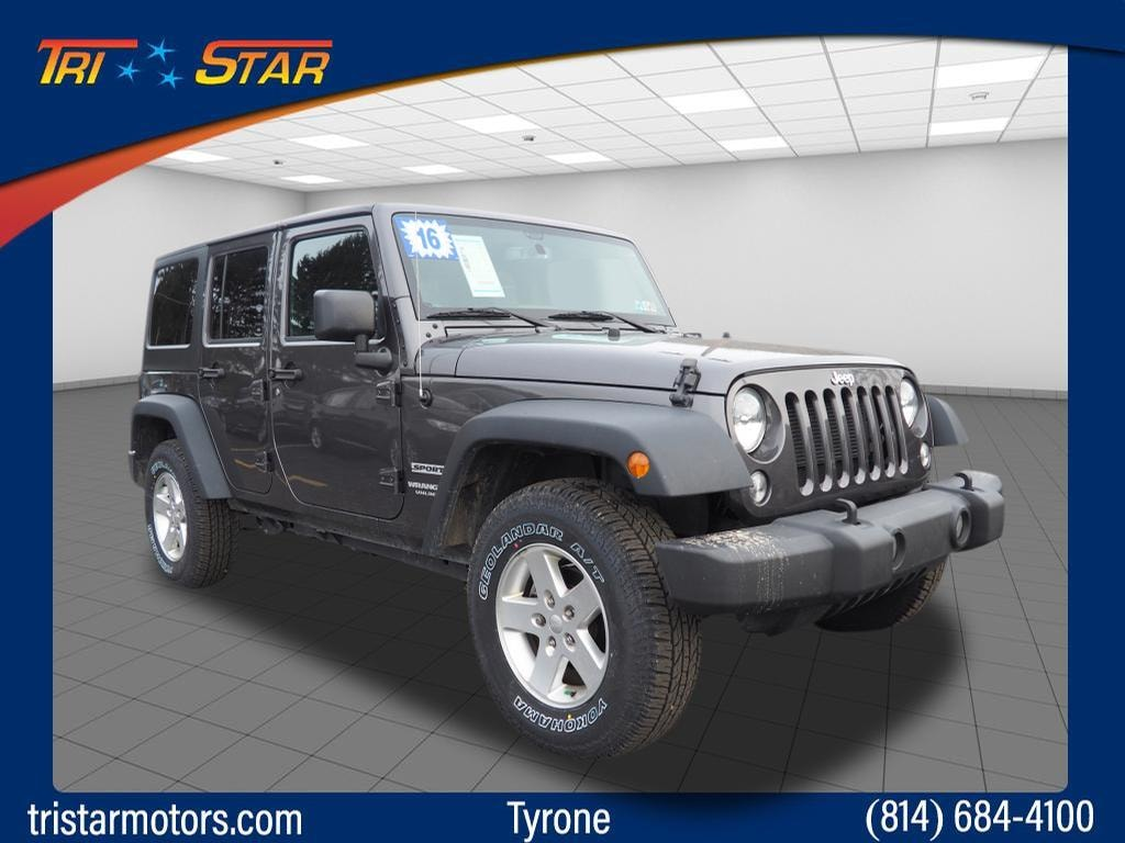 Featured pre-owned cars, trucks, and SUVs 2016 Jeep Wrangler Unlimited Sport 4x4 Sport  SUV for sale near you in Tyrone, PA