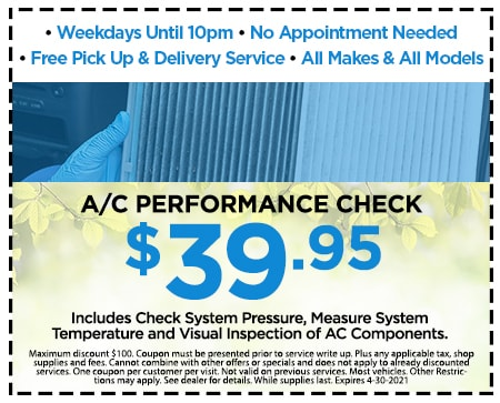 A/C Performance Check $39.95