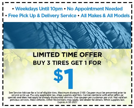 BUY 3 TIRES GET 1 FOR A $1