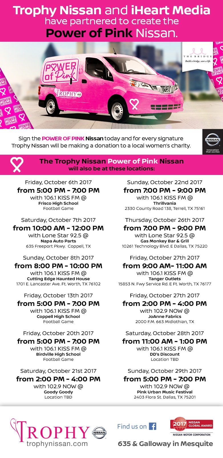 Trophy Nissan & In Hear Radio Power of Pink Tour Dates