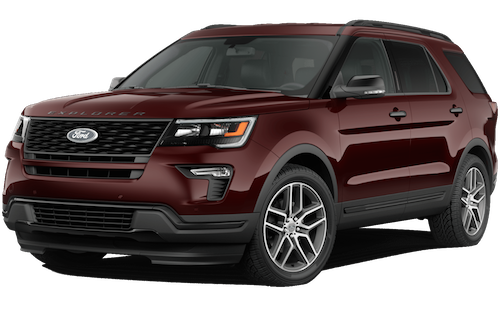 A magma red 2019 Ford Explorer