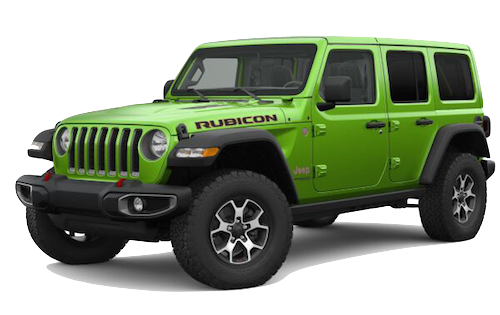 A green 2019 Jeep Wrangler Rubicon