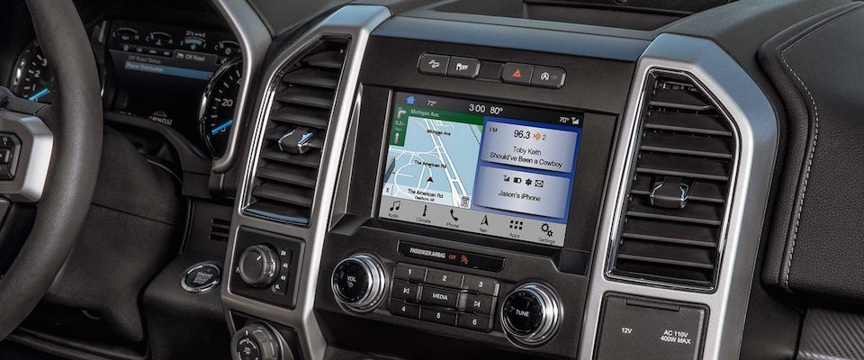 The infotainment system on the 2019 Ford F-150