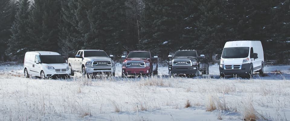 The Ram Commercial lineup parked in the snow