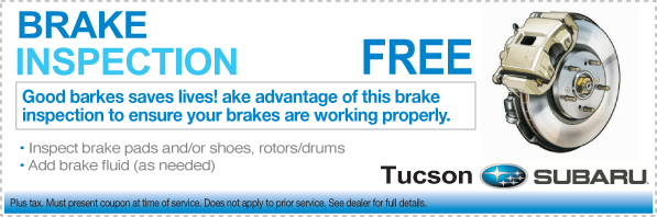 Free Brake Inspection Near Me >> Complimentary Subaru Brake Inspection Service Special Tucson