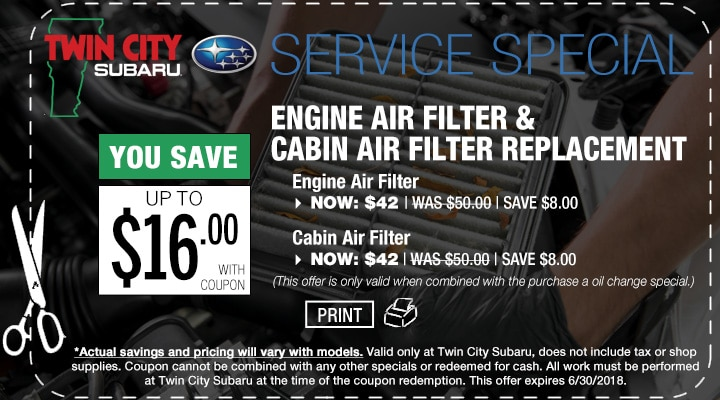 Subaru Engine Air Filter and Cabin Air Filter Replacment Coupon