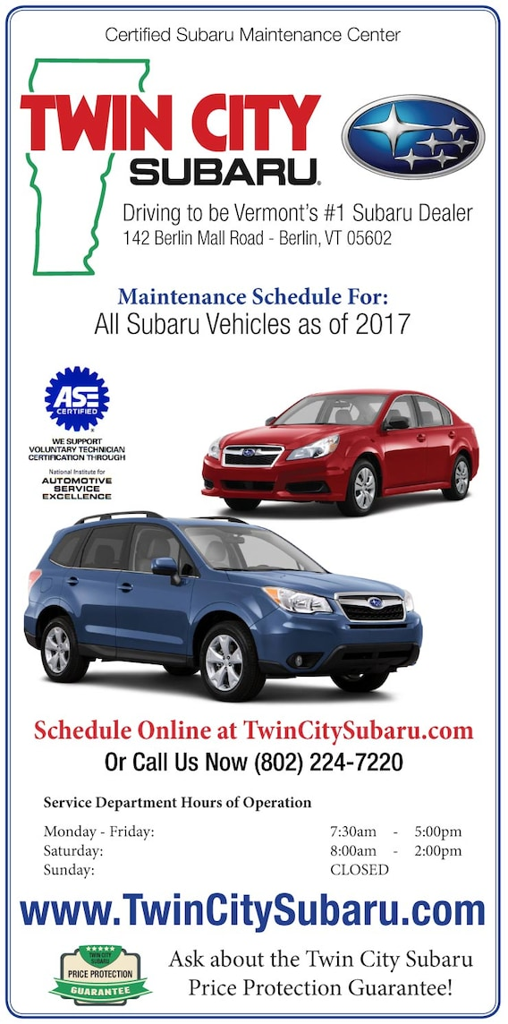 Subaru Maintenance Schedules | Twin City Subaru, Vermont