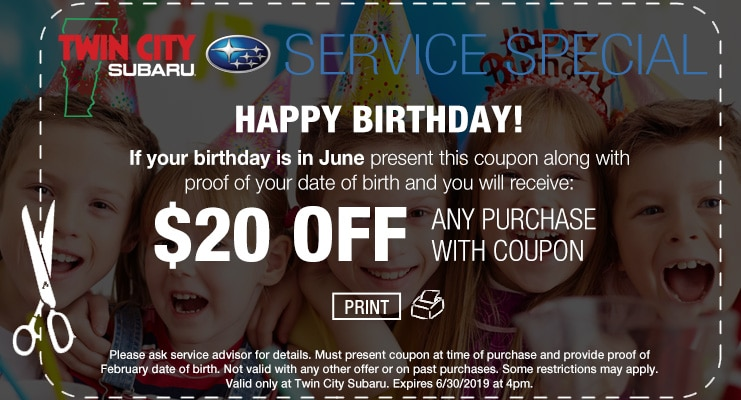 Subaru Service Birthday Coupon