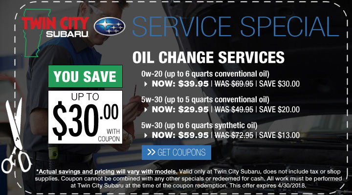 Subaru Service Oil Change Coupon