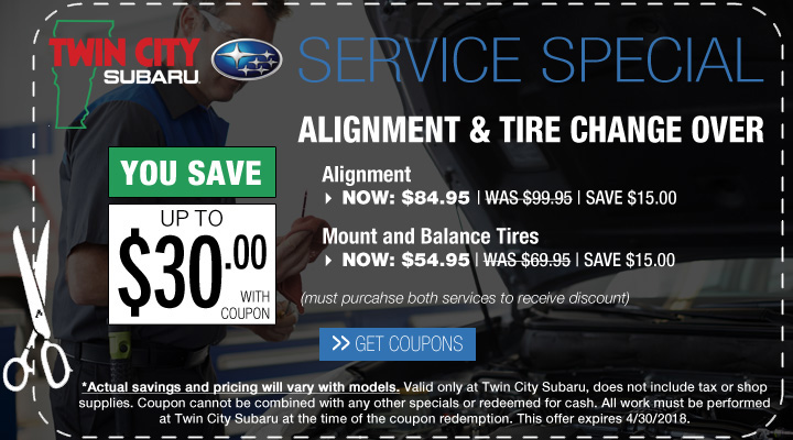 Subaru Alignment and Tire Change Over Coupon