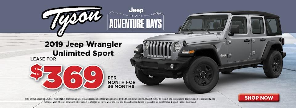 Lease for $369/mo - 2019 Jeep Wrangler Umlimited Sport