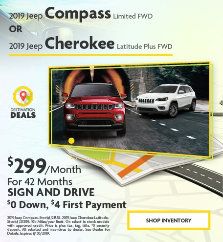 2019 Jeep Compass Limited FWD Or 2019 Jeep Cherokee Latitude Plus FWD