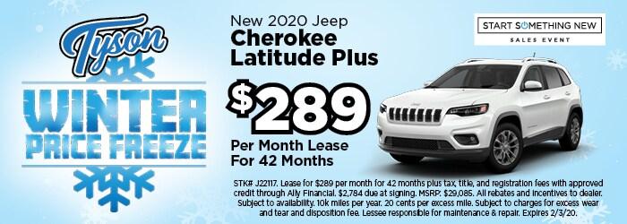 Lease for $289/mo - 2020 Jeep Cherokee Latitude Plus