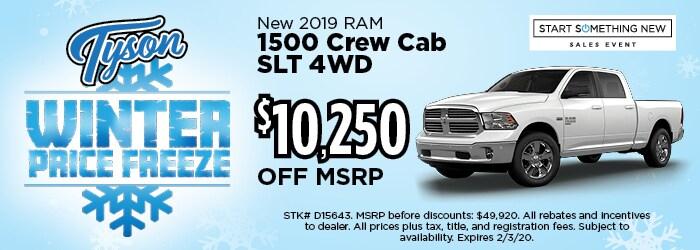 $10,250 OFF - 2019 RAM 1500 Crew Cab SLT 4WD