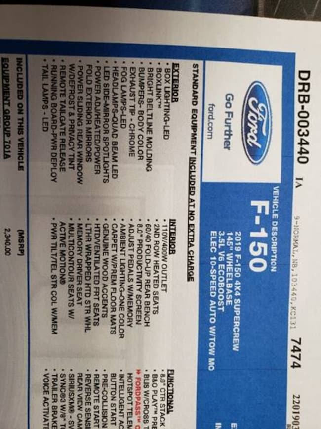 2019 Ford F-150 Platinum 4x4 4dr Supercrew 5.5 ft. SB Pickup Truck