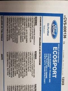 2019 Ford EcoSport Titanium AWD 4dr Crossover Wagon