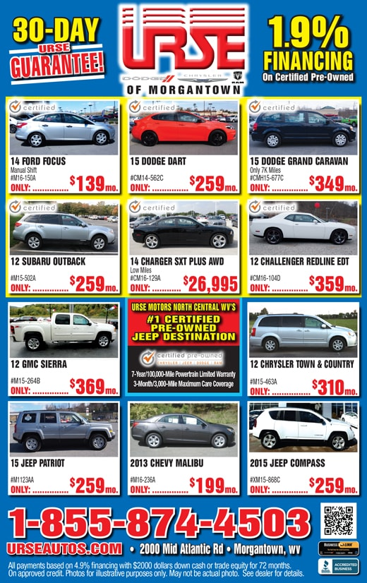 Urse Dodge Chrysler Ram Fiat Of Morgantown | New Dodge, FIAT ...