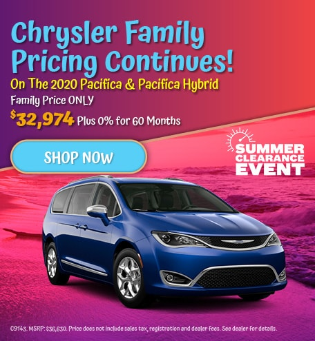 Chrysler Family Pricing Continues On The 2020 Pacifica & Pacifica Hybrid