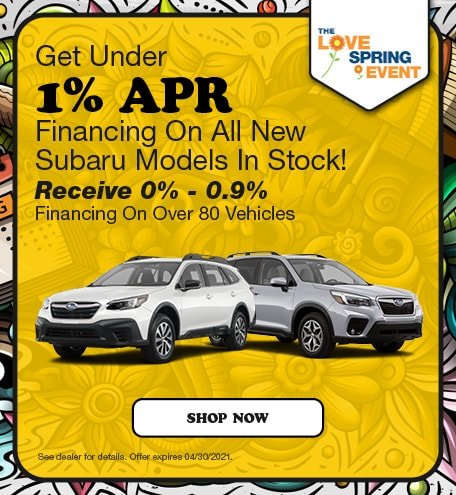 Get Under 1% APR Financing On All New Subaru Models In Stock!