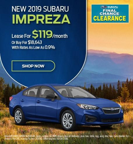 New 2019 Subaru Impreza Lease Offer
