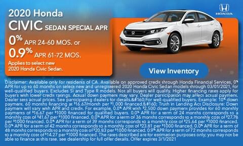 2020 Honda Civic Sedan Special APR