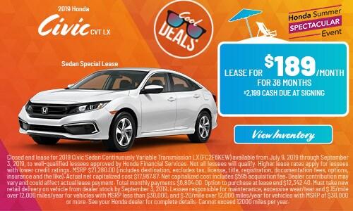 2019 Honda Civic CVT LX Sedan Special Lease