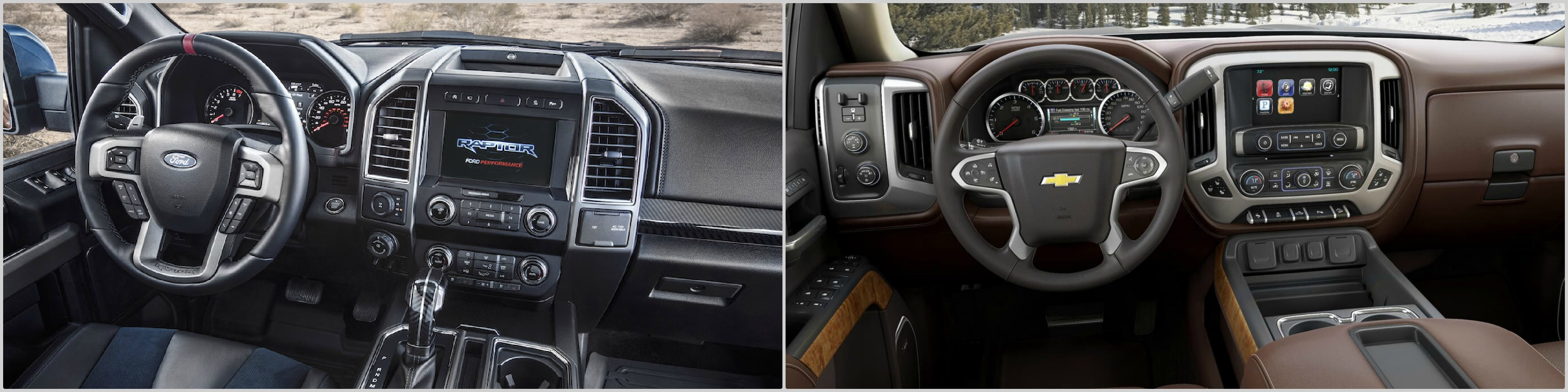 the interior dashboard of a used Raptor vs. a Chevy Reaper