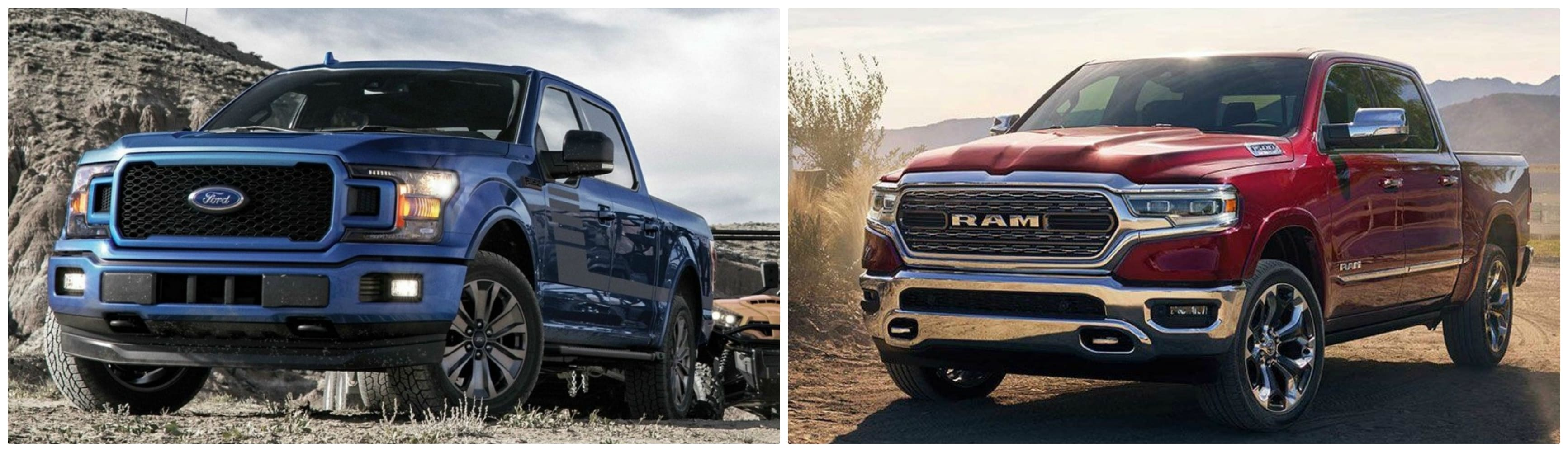 a blue used Ford F150 side-by-side a used red Dodge RAM truck