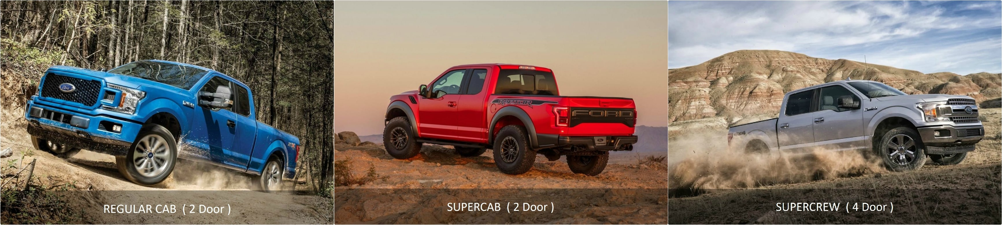 exterior comparison of a Ford F150 Regular Cab vs. SuperCab vs. SuperCrew Trucks