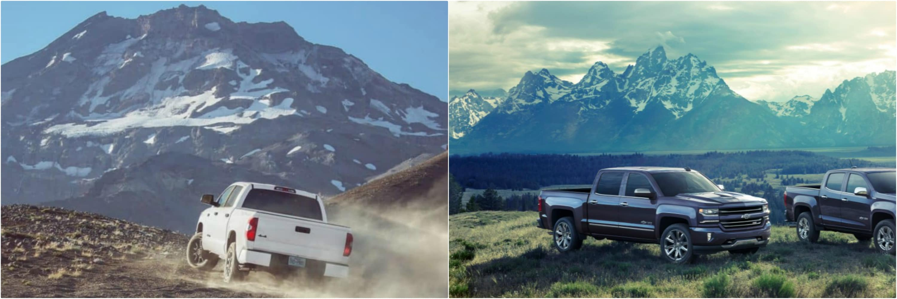 A 2018 Tundra driving in the mountains with a 2018 Silverado