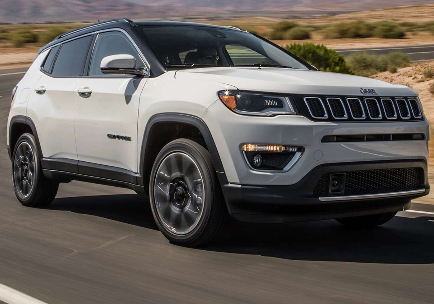 Used White 2018 Jeep Compass with black roof and accents