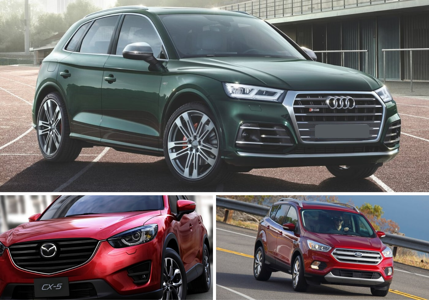 3 image collage of a used 2018 Audi Q5, 2016 Mazda CX-5, and 2017 Ford Escape ranked among the best AWD SUVs