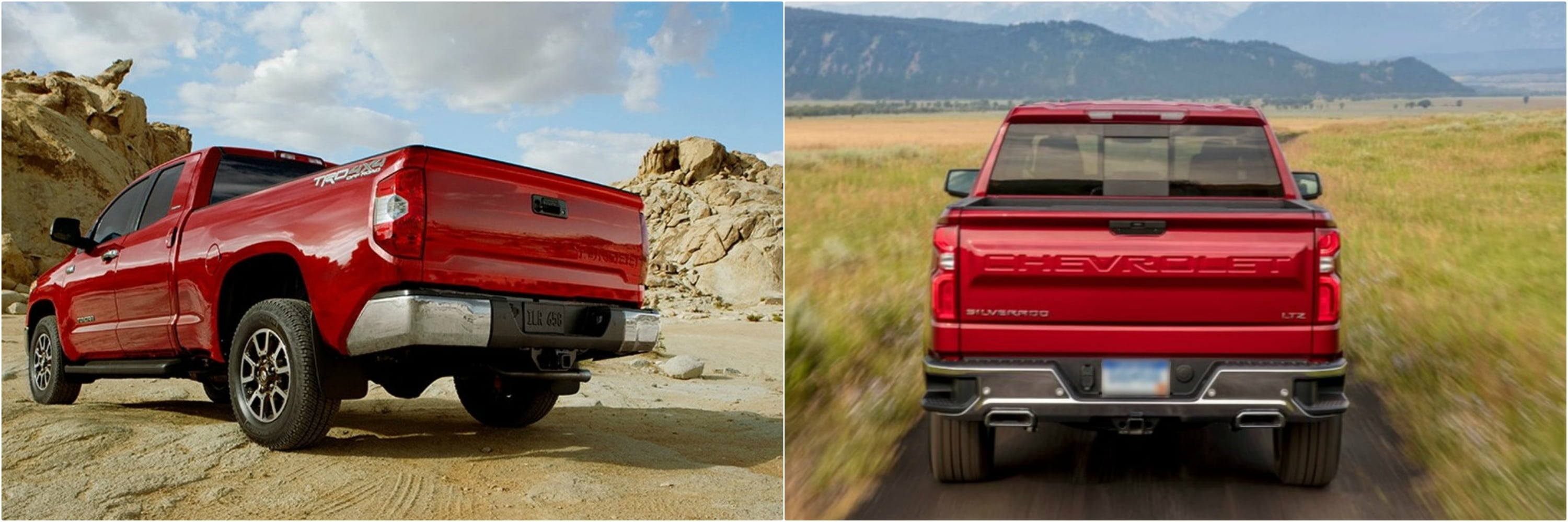 back views of a 2018 Toyota Tundra and Chevy Silverado