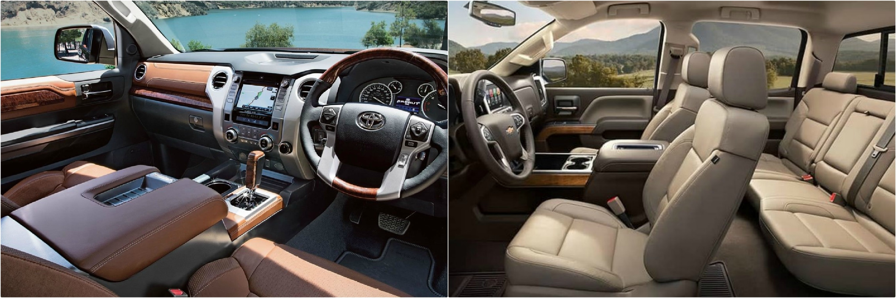 the interior comparison of a 2018 Toyota Tundra next to a Chevy Silverado