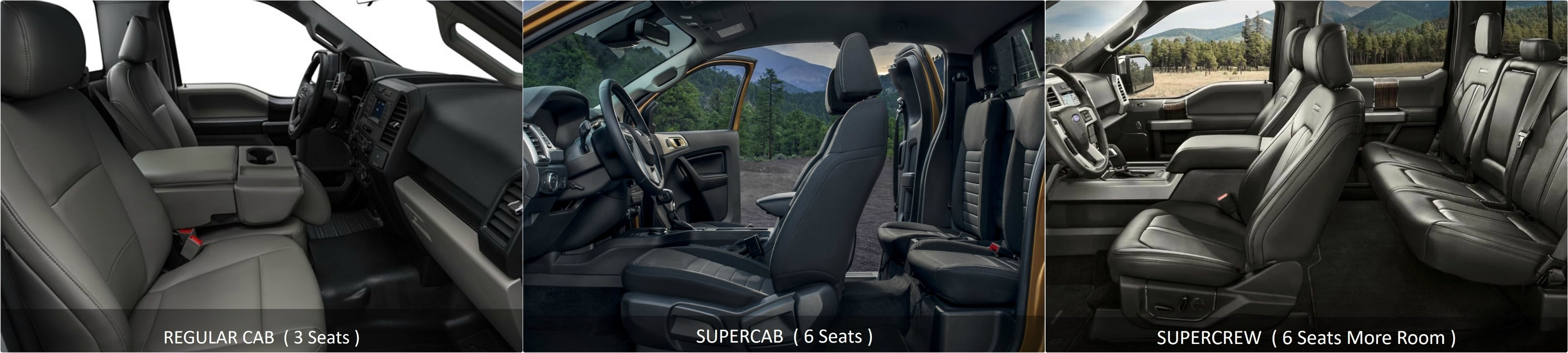 interior seating comparison of the Ford F150 Regular Cab vs. SuperCab vs. SuperCrew