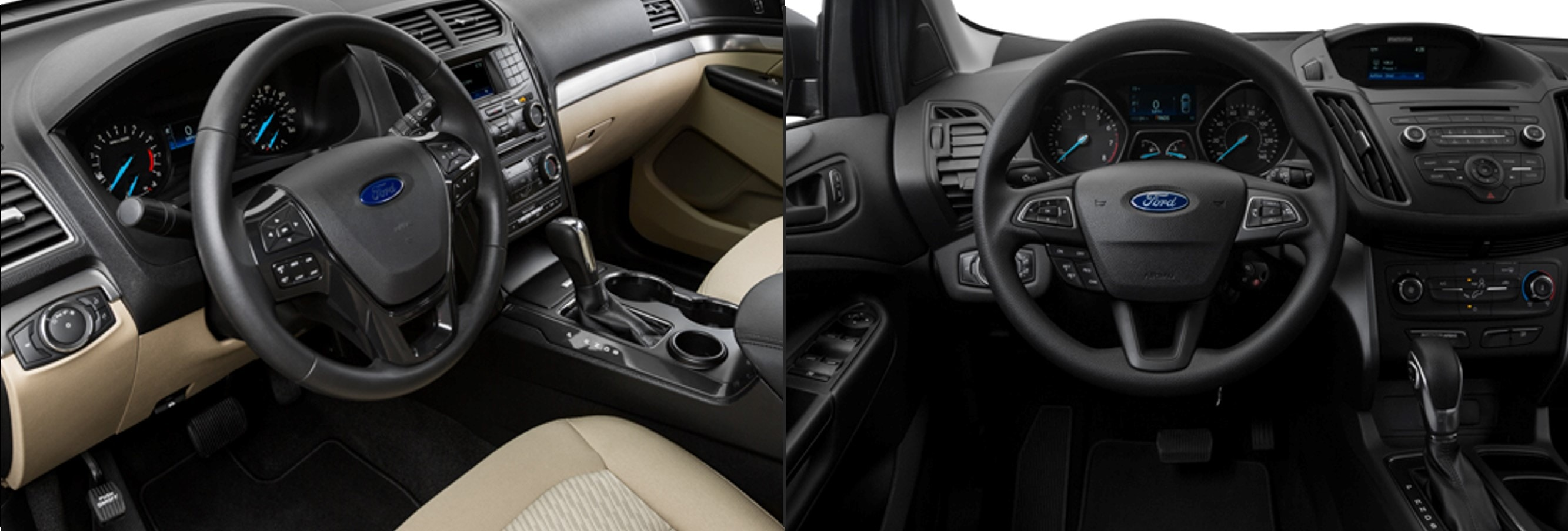 interior dashboard comparison between a 2018 Ford Explorer and an Escape