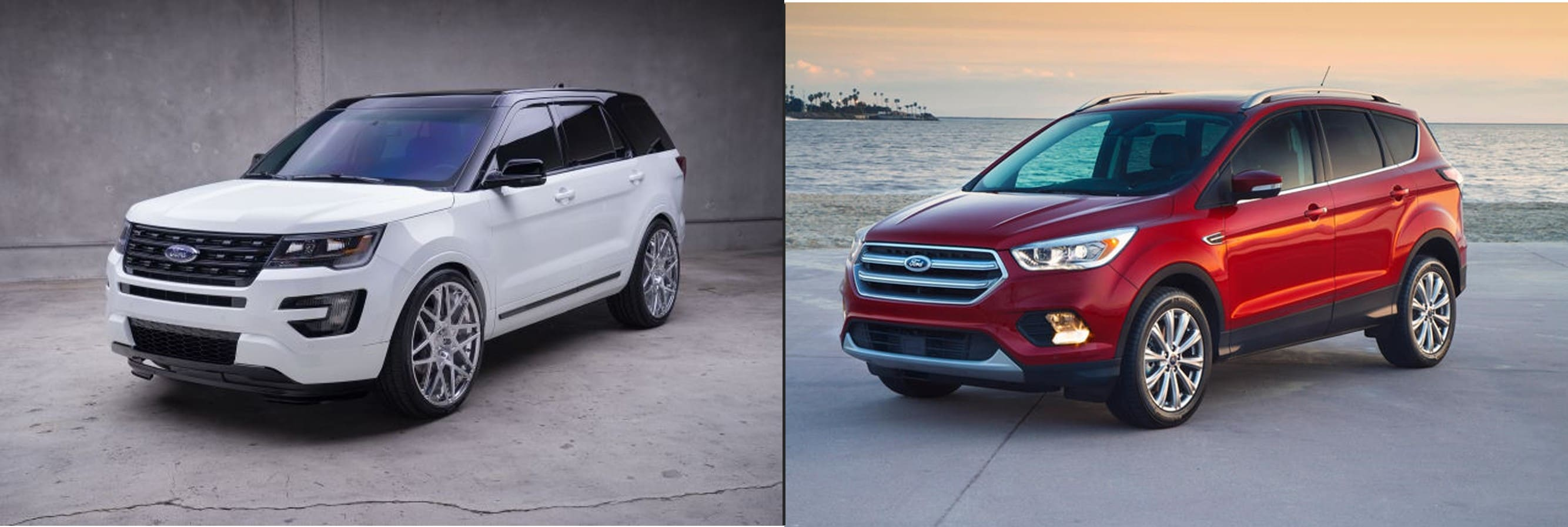 A 2018 white Ford Explorer next to a red 2018 Ford Escape