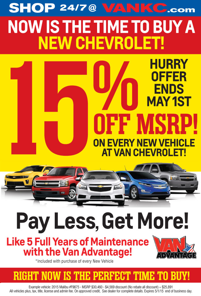 Van Chevrolet Kc >> Pay Less Get More Sales Event 15 Off Msrp Van Chevrolet New